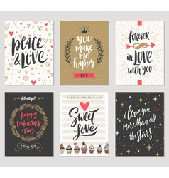 Set of valentines day hand drawn greetings vector
