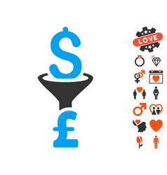 Dollar pound conversion filter icon with lovely vector