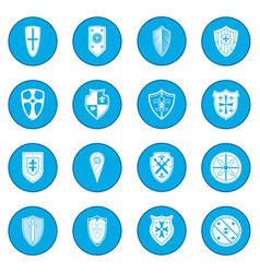Shields icon blue vector