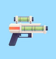Flat cartoon sci-fi gun blaster with acid liquid vector