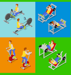 Isometric people at the gym sportsmen workout vector