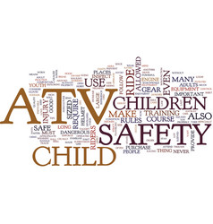 Youth atv safety text background word cloud vector