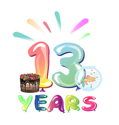 13 years birthday celebration with balloons vector