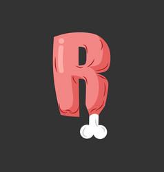 Letter r meat font pork and bone alphabet sign vector