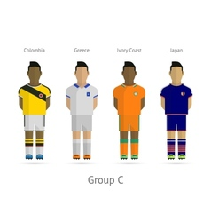 Football teams group c - colombia greece ivory vector