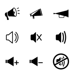 Black speaker icons set vector