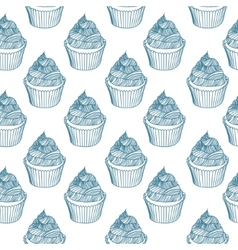 Vintage cupcake with chalks sketches seamless vector