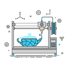 3d printer lines design the vector image vector image