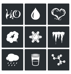 Various physical state of water icons set vector