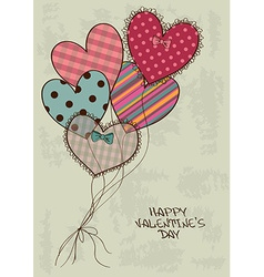Valentines greeting card with heart air balloons vector