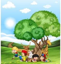 Children and wild animals in the field vector