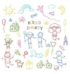 Kids party doodles for the design of childrens vector