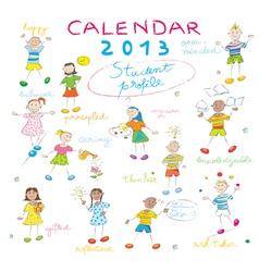 calendar 2013 kids cover vector image