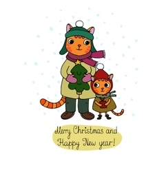 Two cute cartoon cat tree and a gift vector image