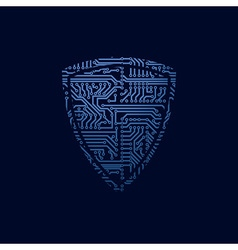 Data security icon circuit board shield vector