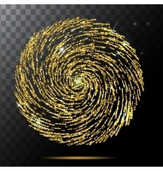 Abstract bright falling gold spiral star - vector