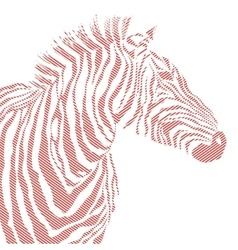 Animal of red zebra striped vector image