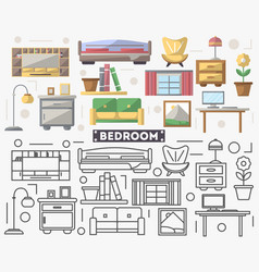 bedroom furniture set in flat style vector image