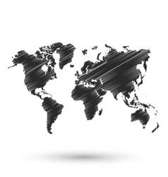 black world map sketch design vector image