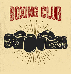 boxing club boxing gloves on grunge background vector image