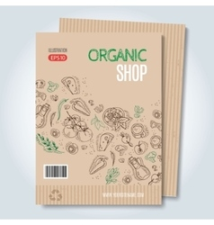 Cardboard organic shop template vector