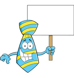 Cartoon tie holding a sign vector image vector image