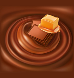 Chocolate background swirl with caramel vector