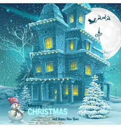 Christmas and New Year greeting card with the vector image