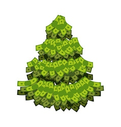 Christmas tree from dollar tree out of money vector