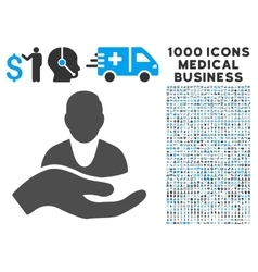 Client Care Hand Icon with 1000 Medical Business vector image vector image