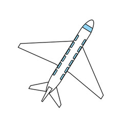 color silhouette cartoon top view travel airplane vector image vector image