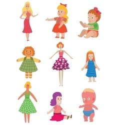 Dolls toys set vector