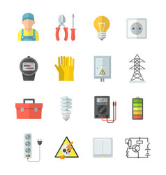 electricity icons in flat style vector image vector image