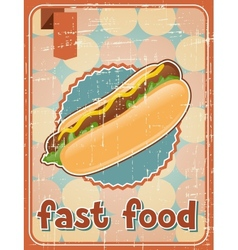 Fast food background with hot dog in retro style vector image vector image
