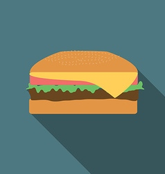 Flat design burger icon with long shadowflat vector
