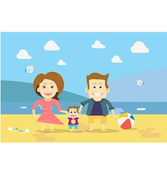 Flat design Family on the Beach vector image vector image
