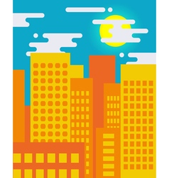 Flat style cityscape on a sunny day big city life vector