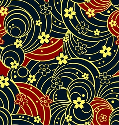 Floral night kimono pattern vector image vector image