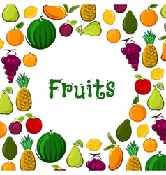 Fruit poster of exotic farm fresh fruits vector image