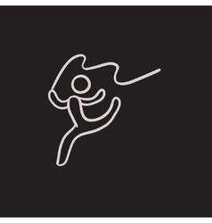 Gymnast with tape sketch icon vector image vector image