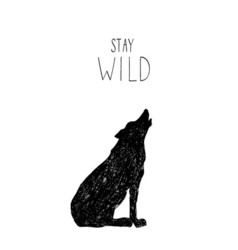Hand drawn with wild forest wolf vector