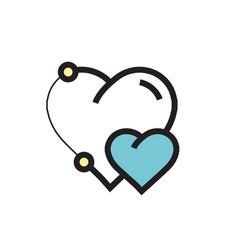 Icon heart pen tool style design blue vector