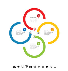 infographic circle icon set colored vector image vector image