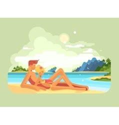Man and woman on beach vector image vector image