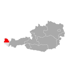Map of Austria with flag of Vorarlberg vector image vector image