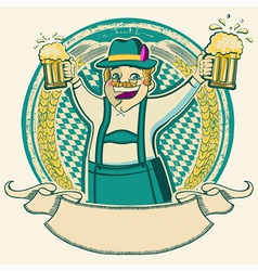 oktoberfest Vintage label with man and glasses of vector image vector image