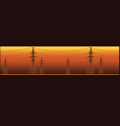 Panoramic high voltage power lines vector