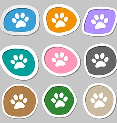 paw icon symbols Multicolored paper stickers vector image