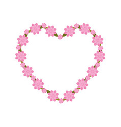pink heart flowers decoration vector image