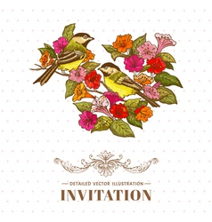 Retro Background - Flowers and Birds vector image